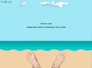 Google Waveのメンテナンス画面を初めてみました。