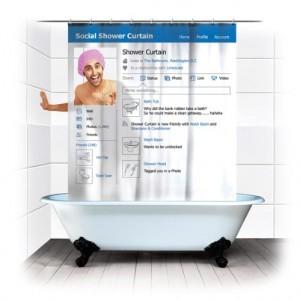 Facebook柄のシャワーカーテン「Social Shower Curtain」が面白い。他にもソーシャルなおもしろグッズが!